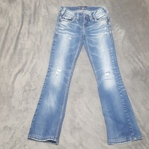 SILVER JEANS AIKO BOOT CUT DISTRESSED JEANS NEW